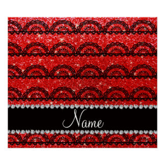 Personalized name neon red glitter lace poster