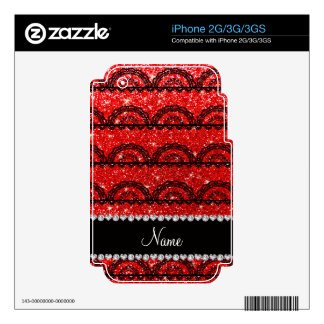 Personalized name neon red glitter lace decal for the iPhone 3G