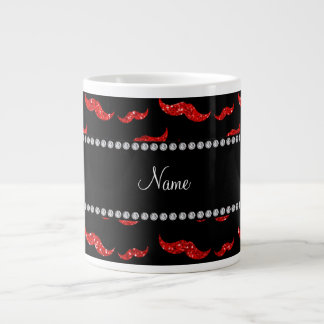 Personalized name neon red glitter mustaches giant coffee mug