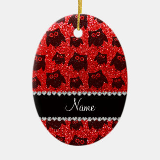 Personalized name neon red glitter owls ceramic ornament