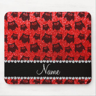 Personalized name neon red glitter owls mousepads