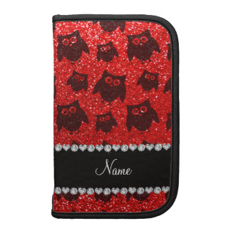 Personalized name neon red glitter owls folio planner