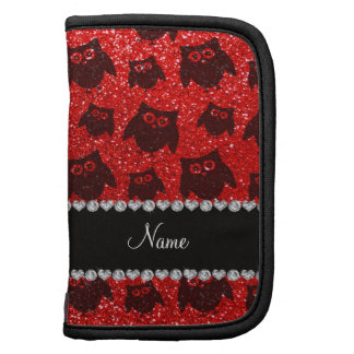 Personalized name neon red glitter owls organizer