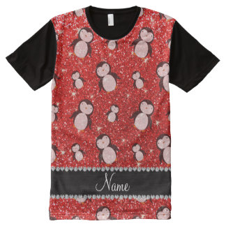 Personalized name neon red glitter penguins All-Over-Print shirt