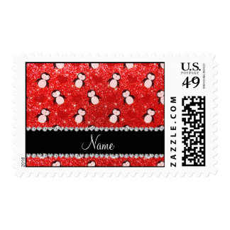 Personalized name neon red glitter penguins hearts postage