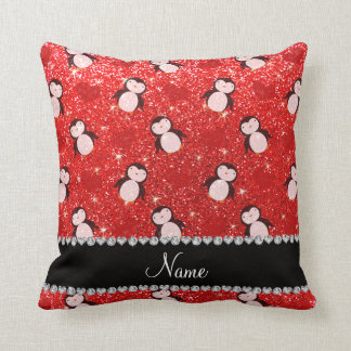 Personalized name neon red glitter penguins hearts throw pillow