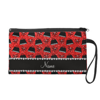 Personalized name neon red glitter purses bow wristlet purses