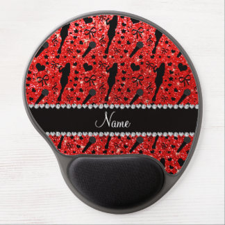 Personalized name neon red glitter singer gel mouse pad