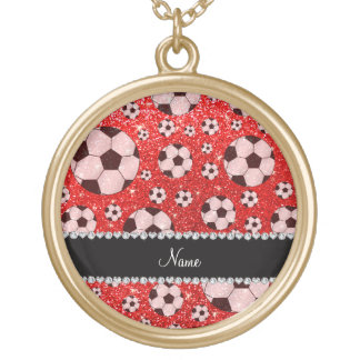 Personalized name neon red glitter soccer personalized necklace