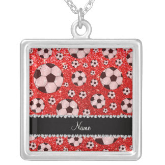 Personalized name neon red glitter soccer jewelry