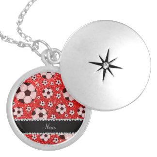Personalized name neon red glitter soccer lockets