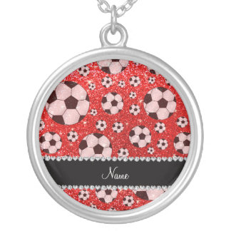 Personalized name neon red glitter soccer custom necklace