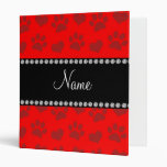 Personalized name neon red hearts and paw prints 3 ring binder