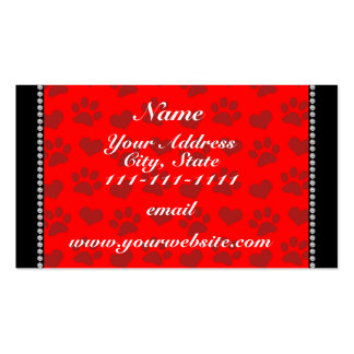 Personalized name neon red hearts and paw prints Double-Sided standard business cards (Pack of 100)