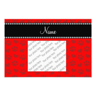 Personalized name neon red hearts and paw prints photo print