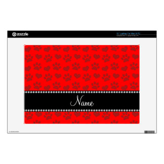 """Personalized name neon red hearts and paw prints decals for 13"""" laptops"""