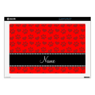 """Personalized name neon red hearts and paw prints skin for 17"""" laptop"""