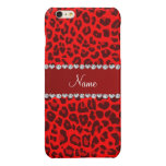 Personalized name neon red leopard pattern glossy iPhone 6 plus case