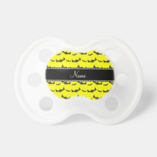 Personalized name neon yellow glitter bats BooginHead pacifier