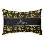 Personalized name neon yellow glitter cat paws small dog bed