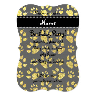 Personalized name neon yellow glitter cat paws 5x7 paper invitation card