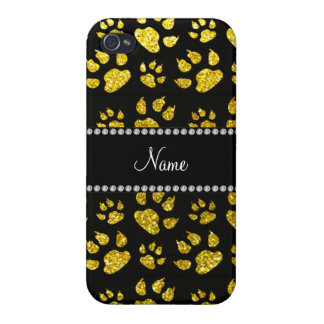 Personalized name neon yellow glitter cat paws iPhone 4/4S cover