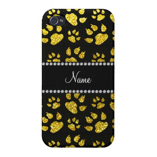 Personalized name neon yellow glitter cat paws iPhone 4/4S cases