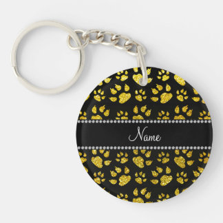 Personalized name neon yellow glitter cat paws acrylic keychain