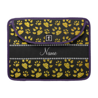 Personalized name neon yellow glitter cat paws sleeve for MacBooks