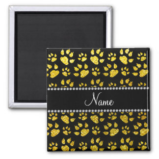 Personalized name neon yellow glitter cat paws magnet