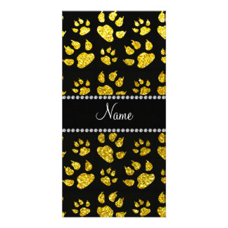 Personalized name neon yellow glitter cat paws custom photo card