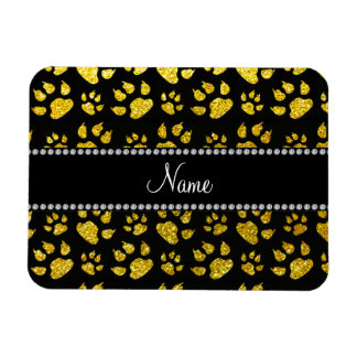 Personalized name neon yellow glitter cat paws rectangle magnets