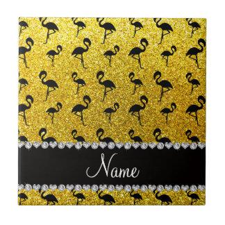 Personalized name neon yellow glitter flamingos tiles