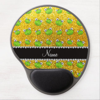 Personalized name neon yellow glitter frogs gel mouse pad