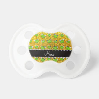 Personalized name neon yellow glitter frogs BooginHead pacifier