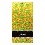 Personalized name neon yellow glitter frogs photo card