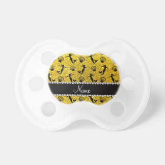 Personalized name neon yellow glitter mermaids BooginHead pacifier