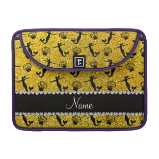 Personalized name neon yellow glitter mermaids sleeves for MacBook pro