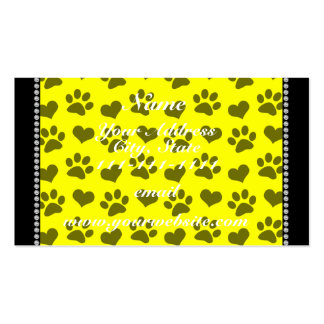 Personalized name neon yellow hearts and paw print Double-Sided standard business cards (Pack of 100)