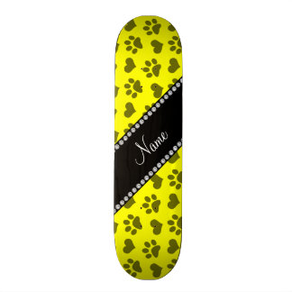 Personalized name neon yellow hearts and paw print custom skateboard