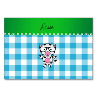Personalized name nerd cow blue picnic checkers table card