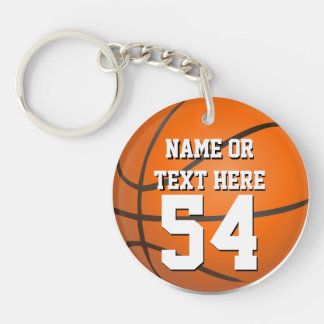 Personalized Name Number Kid's Basketball Keychain