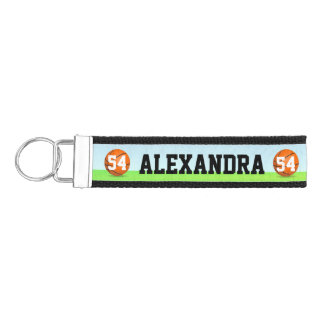 Personalized Name Number Kid's Basketball Wrist Keychain