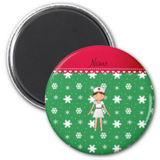 Personalized name nurse green christmas snowflakes 2 inch round magnet