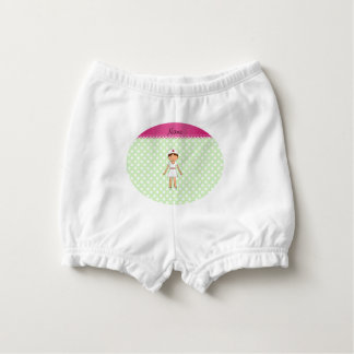 Personalized name nurse green polka dots diaper cover