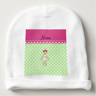 Personalized name nurse green polka dots baby beanie