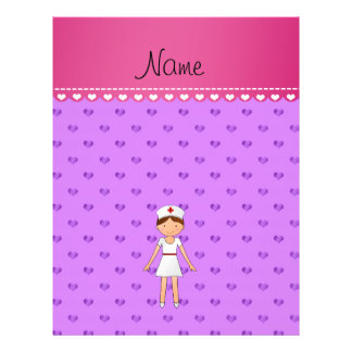 Personalized name nurse pastel purple hearts full color flyer