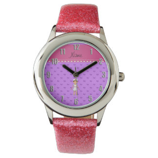 Personalized name nurse pastel purple hearts wristwatch