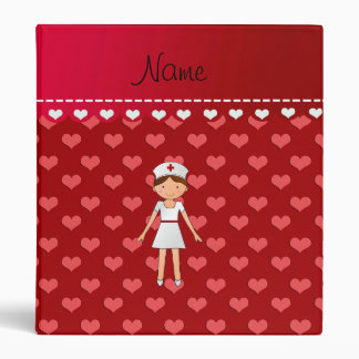 Personalized name nurse red hearts 3 ring binder