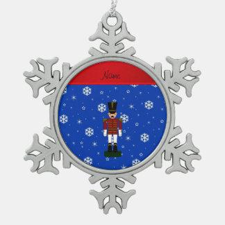 Personalized name nutcracker blue snowflakes snowflake pewter christmas ornament